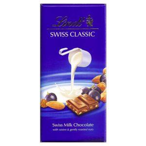شکلات لینت مدل سوئیس کلاسیک - کشمش و فندق و بادام -ایبو کالا