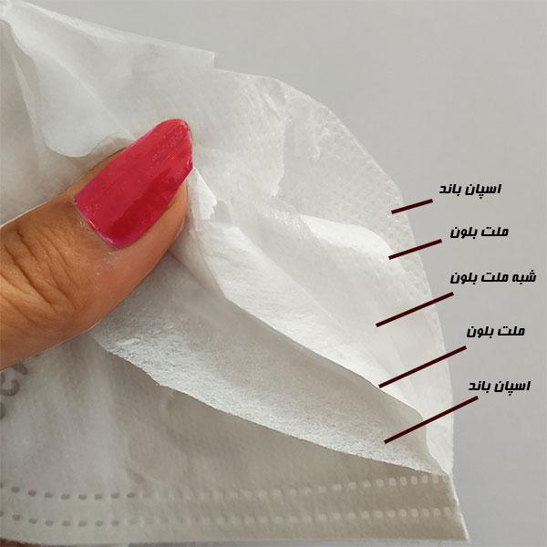 ماسک تنفسی KN95 اسپان بافت 20 عددی تاییدیه سازمان غذا و دارو - ایبو کالا