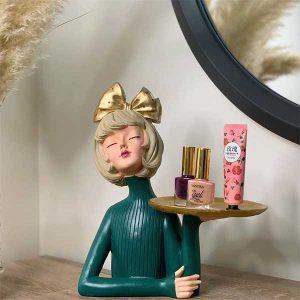 مجسمه نیم تنه دختر سینی به دست میز آرایش - ایبوکالا