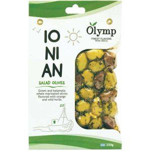 زیتون ترش یونانی المپیک Olymp با طعم پرتقال و گیاهان دارویی 250 گرم - ایبو کالا.jpg